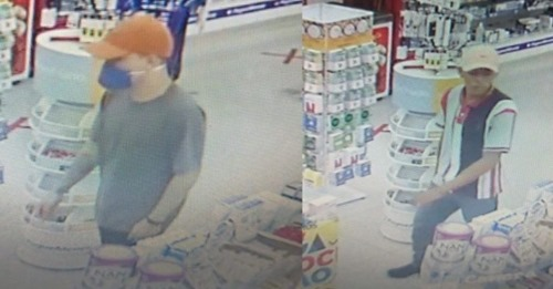 Prevenido: ladrão usa máscara de proteção durante assalto em farmácia