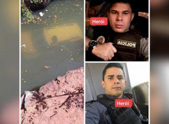 Policiais pulam de ponte para salvar bebê e jovem que ficaram presos em carro submerso em rio