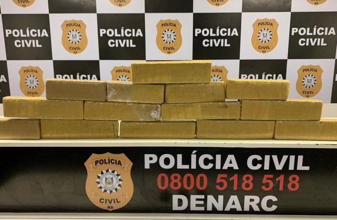 13 quilos de maconha são apreendidos em Porto Alegre