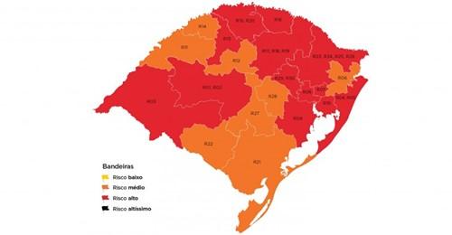 Governo do RS coloca Porto Alegre e outras 12 regiões em bandeira vermelha no mapa preliminar