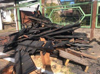 Casa fica destruída após incêndio; dois cachorros foram resgatados